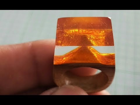 Golden pyramid ring from epoxy resin | resin art |resin craft | resin ring