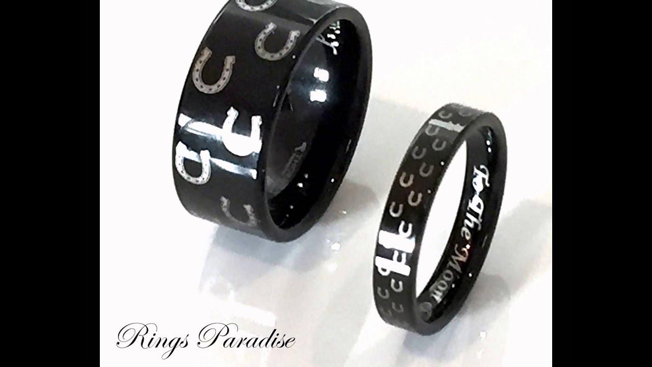 Black Animal Horse Shoe Tungsten Men And Women Wedding Bands, Promise Rings  Ringsparadise