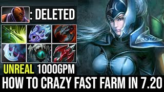 How to Crazy Fast Farm in 7.20| Luna Monster Farming 1kGPM Destroy Godlike Anti Mage By Raven Dota 2