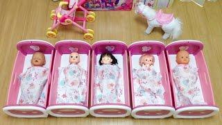 メルちゃん ぽぽちゃん みんなでベッドでおねんね / Baby Doll Crib , It's Bedtime , 5 Babies Doll thumbnail