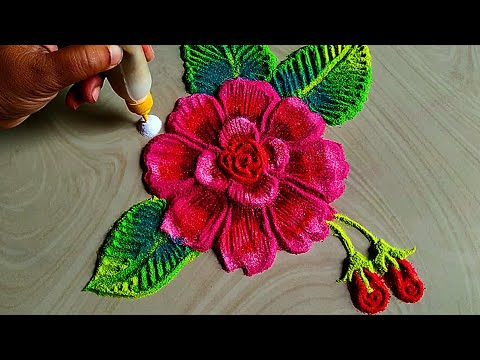 Colourful rose flowers rangoli for independence day special