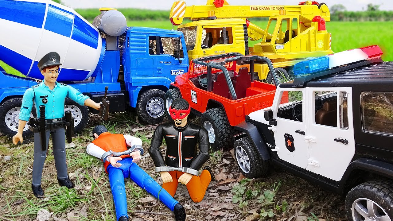 Trucks for Kids Construction Playing 덤프트럭 경찰차 장난감 놀이