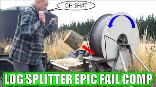 WORLDS FASTEST LOG SPLITTER EPIC FAILS COMPILATION AND INJURIES!!!
