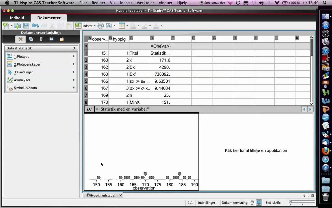 Ugrupperede datasæt - hyppighedsdiagram