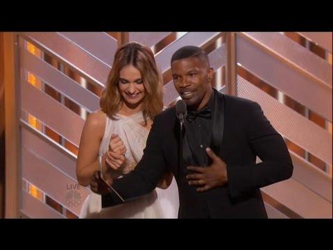 Jamie Foxx Hilariously Parodies Steve Harvey's Miss Universe Flub at the Golden Globes