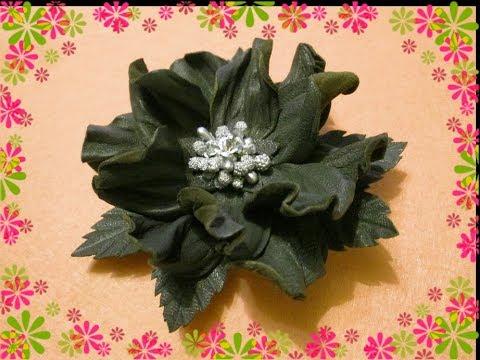 Как сделать цветок из кожи мастер класс 796