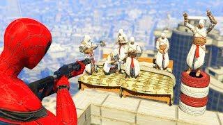 GTA 5 Crazy Ragdolls Spiderman Vs Assassin's Creed (GTA 5 Euphoria Physics Ragdolls Fails Funny)