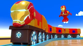 Super Hero Kids Cartoon - Choo Choo Iron man Train - Choo Choo train kids videos