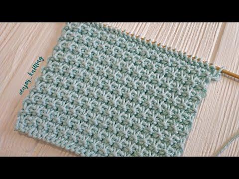 ПРОСТОЙ Рельефный узор спицами для начинающих   Waffle stitch knitting pattern