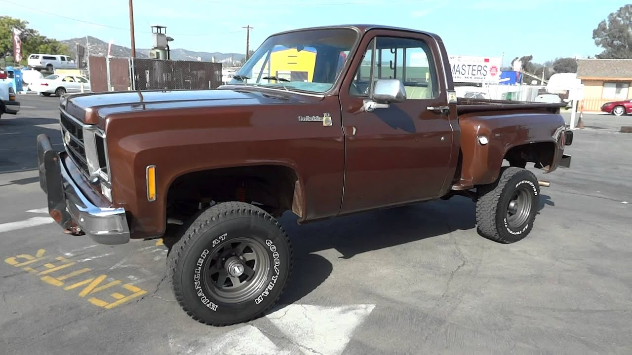 78 chevy k10 k 10 stepside video 4x4 2 owner classic youtube sciox Choice Image