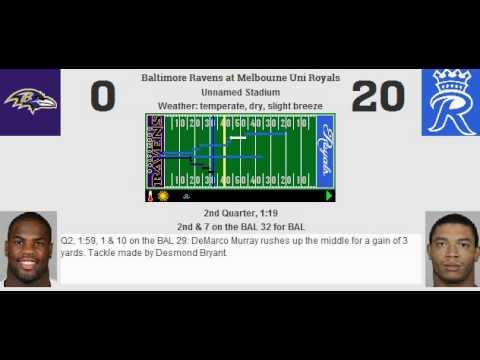 Week 9: Baltimore Ravens (5-3) @ Melbourne Uni Royals (4-4)