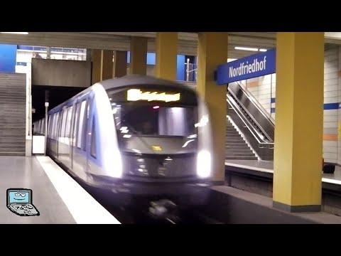 Nordfriedhof mit Zügen der Münchner U-Bahn (A-, B-, C- und C2-Zug)