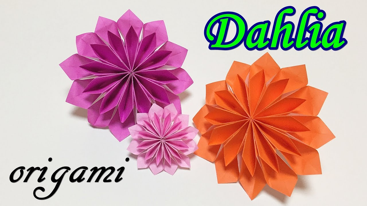 Origami flower easy tutorial for beginners how to make a paper origami flower easy tutorial for beginners how to make a paper dahlia step by step mightylinksfo
