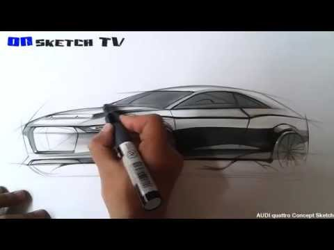 "온스케치 TV Car Sketch - ""Audi Quattro Concept Sketch (Color Pencil + AD MARKER)"""
