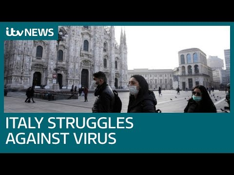 Sixth person dies in Italy as road blocks set up to halt coronavirus spread | ITV News
