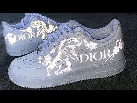 "Custom 3M Reflective ""DIOR Dino""  Air Force 1's"