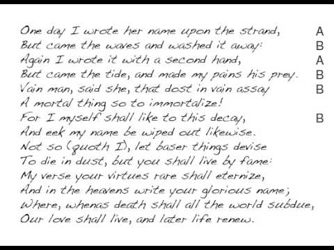 amoretti sonnet 64 Amoretti, sonnet #75 by edmund spenser one day i wrote her name upon the strand, but came the waves and washed it away: again i write it with a second hand.