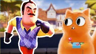 ПРИВЕТ СОСЕД Акт 1 Hello Neighbor Act 1 Веселые приключения КОТ ДЖЕМ играет и достает соседа #1
