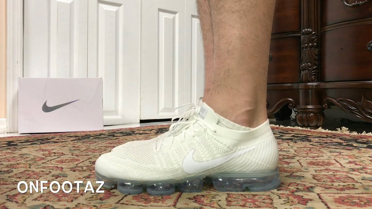 53b52e7738c Nike Air VaporMax Triple White On Foot - YouTube