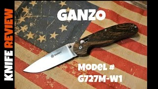 REVIEW : Ganzo G727M-W1 Knife | Wood Scales