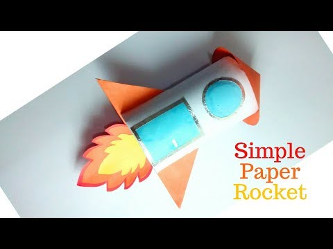 Simple Paper Rocket, Rocket Origami, Rocket Toilet Paper Roll Craft, How To Make Paper Rocket Ship