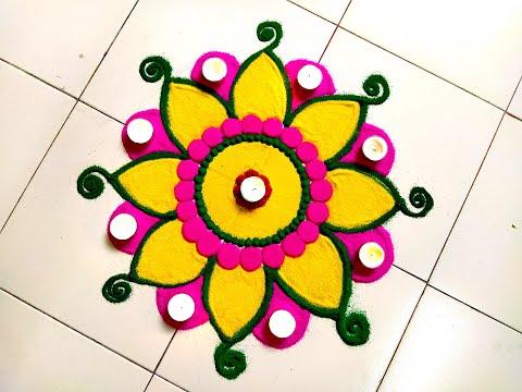 Latest Navratri & Dussehra Rangoli Design 2018 using Plate | DIY Diwali Decoration ideas