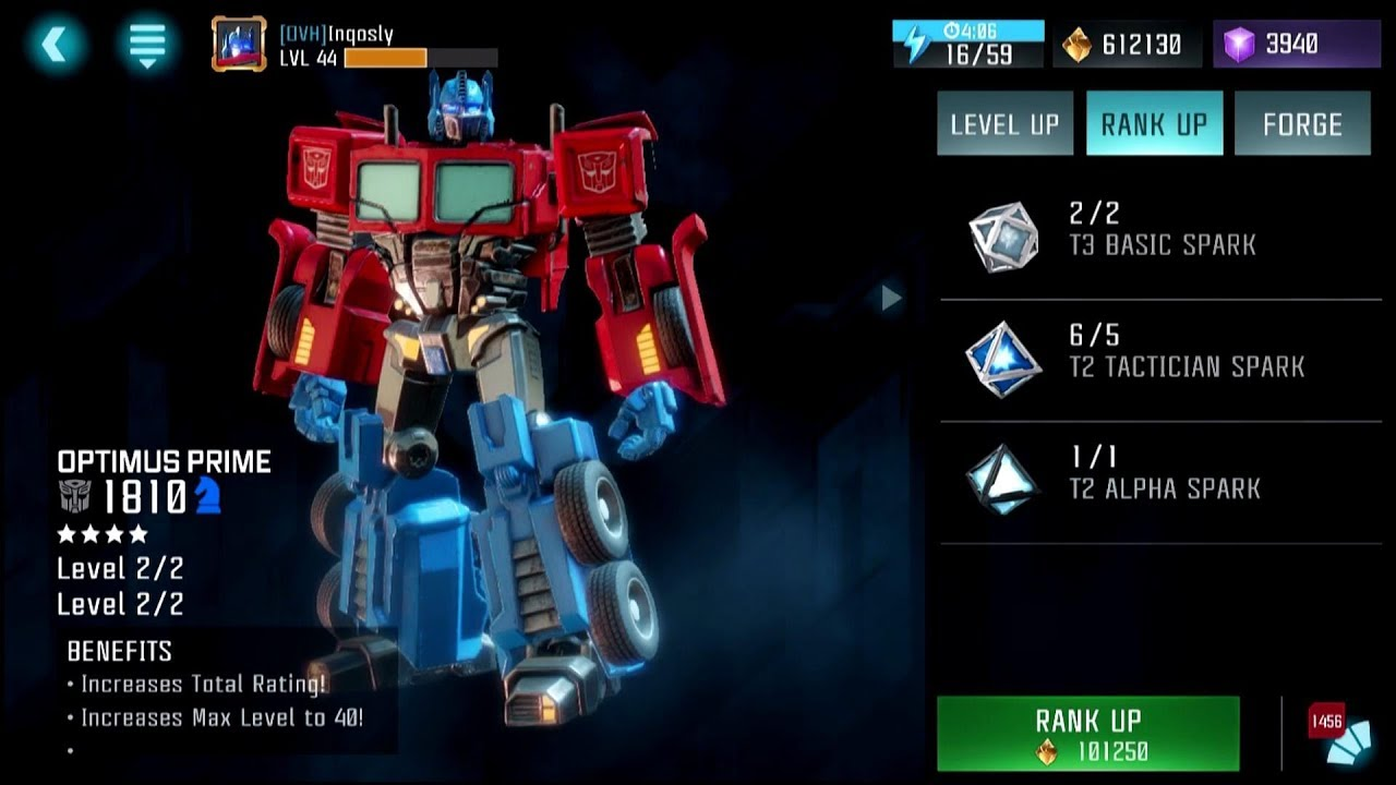 4 Star Optimus Prime Rankup Forge 4 Star Crystal Opening Transformers Forged To Fight