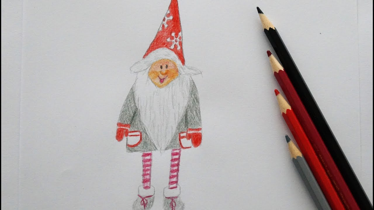 weihnachts wichtel malen how to draw a christmas gnome. Black Bedroom Furniture Sets. Home Design Ideas