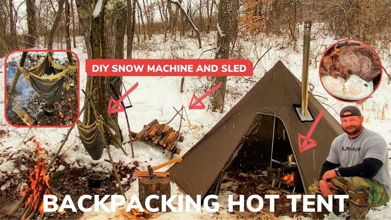 Solo Overnight Using an Ultralight Backpacking Hot Tent In The Snow and Bacon Steak and Eggs
