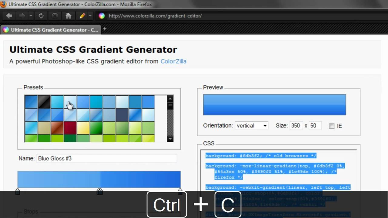 CSS3 // Generar degradados con Ultimate CSS Gradient Generator