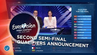 The exciting qualifiers announcement of the second Semi-Final - Eurovision 2019