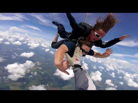 Mackenzie's first time skydiving from 14,000 feet