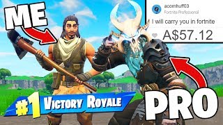I Paid 12 Yr Old 'PRO' To Carry Me In Fortnite! thumbnail