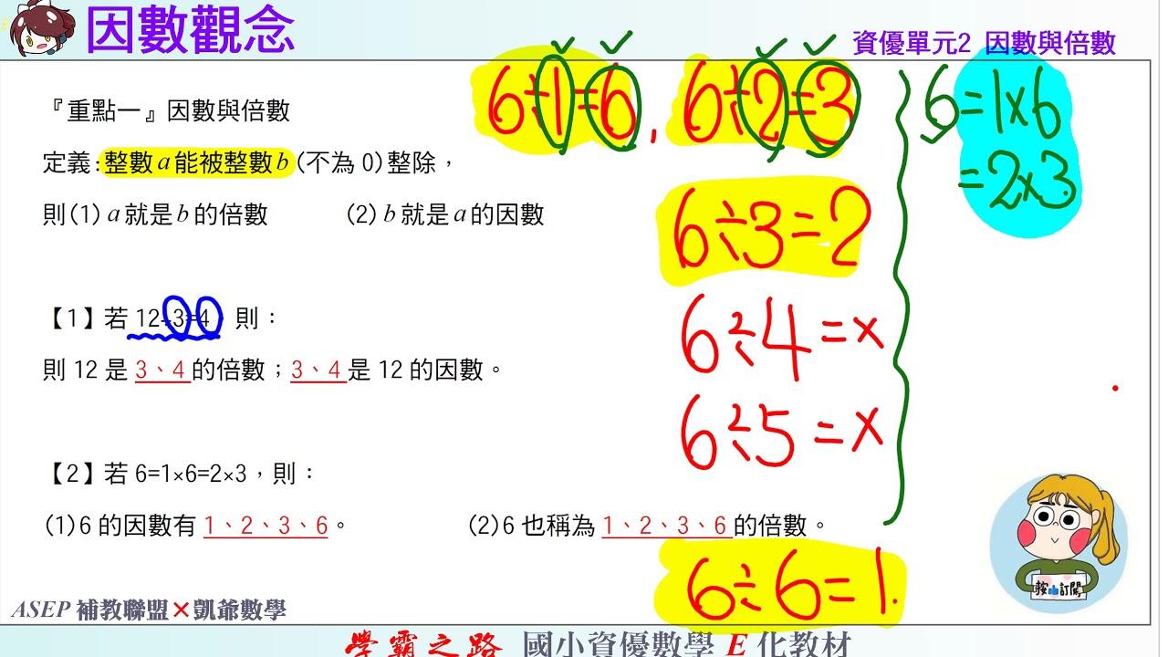 國小資優數學 單元2 因數與倍數 練1 因數觀念 ASEPx凱爺數學 - YouTube