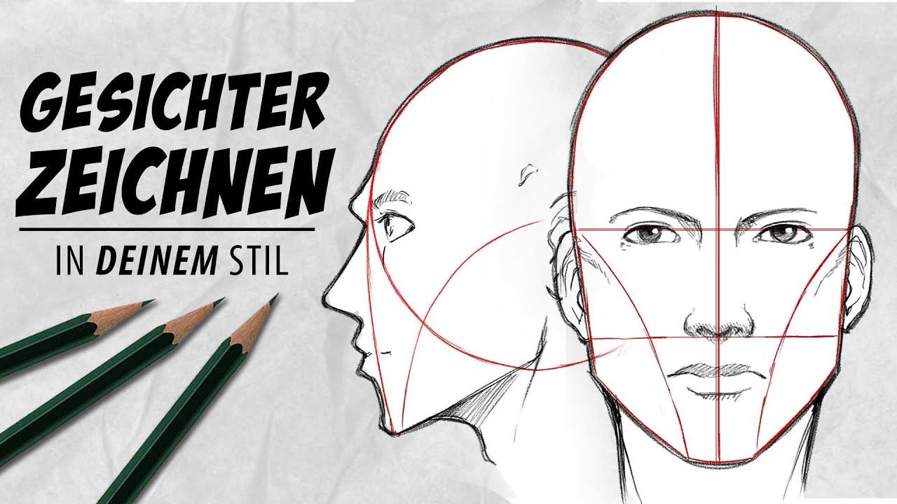 Download GESICHTER zeichen | In DEINEM STIL | Von vorne + seitlich | Drawinglikeasir