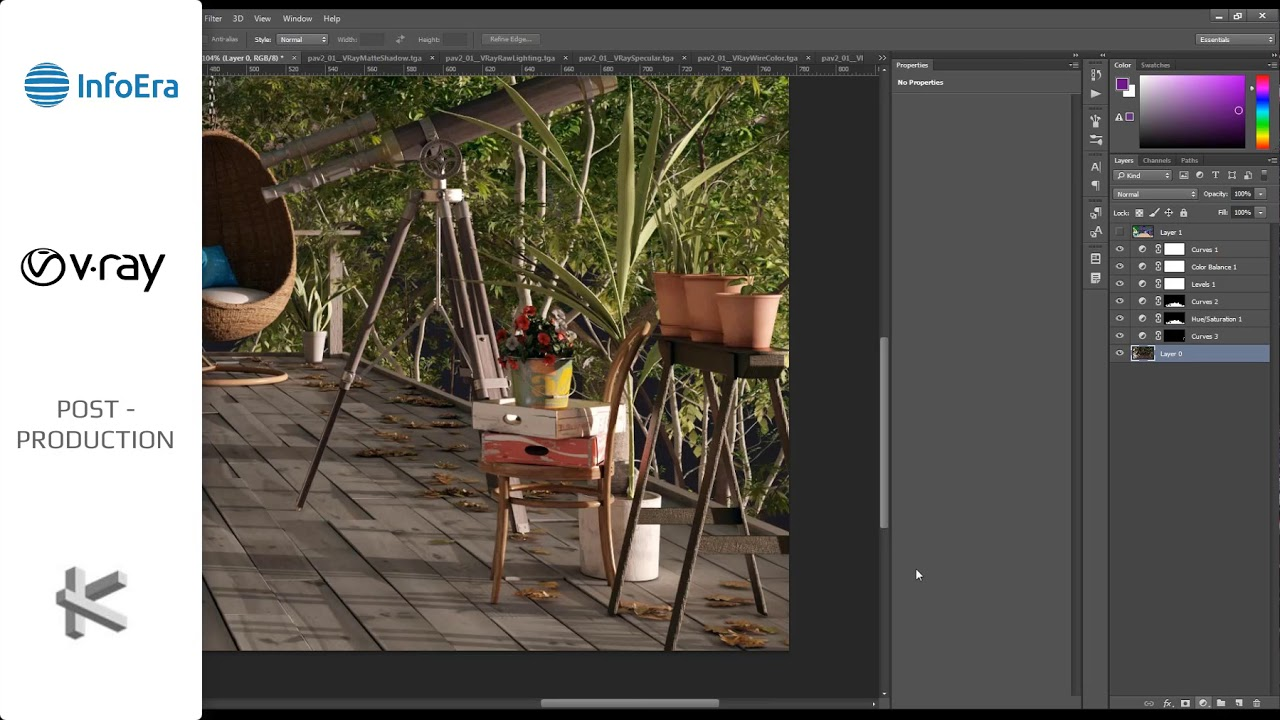 3D vizualizacijų post-produkcija, Adobe Photoshop ir V-Ray Next sprendimais