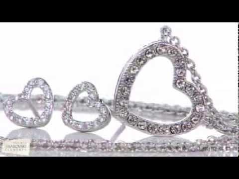 Pavé Heart Necklace & Earrings Duo Set by Jewel Unique