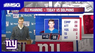 Eli Manning Talks His Emotional Win Against Dolphins | New York Giants