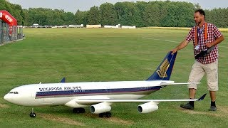 HUGE RC AIRLINER AIRBUS A-340 SCALE MODEL TURBINE JET FLIGHT DEMONSTRATION thumbnail