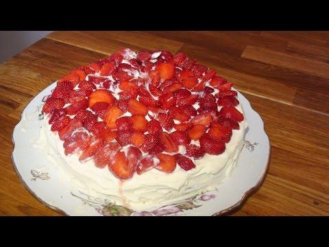 Бисквит с клубникой / Бісквіт із полуницями