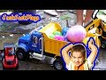 Toy Trucks for Kids Challenge - Fishing for Surprise Eggs with Excavators and Loaders