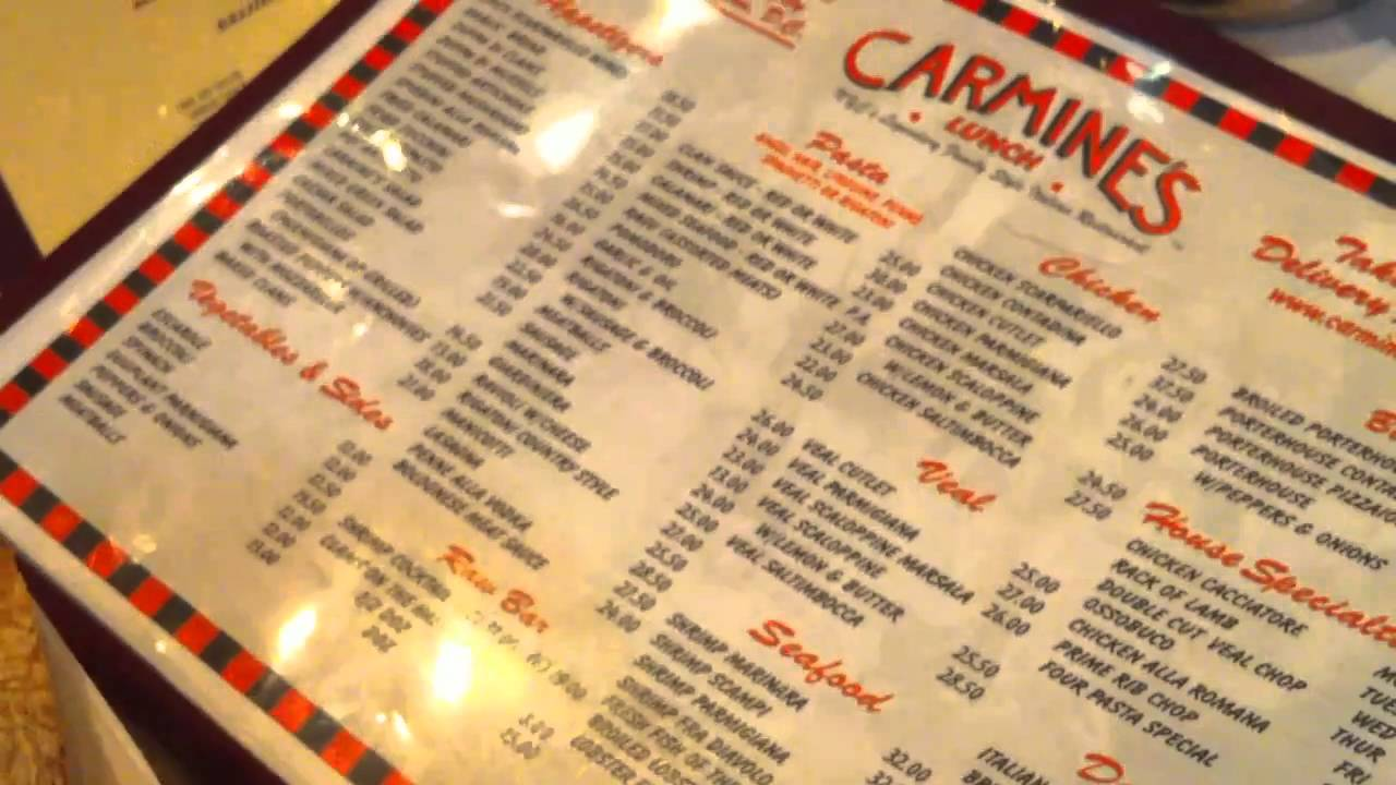 Lunch at carmine 39 s ny with yvette youtube for Carmines nyc