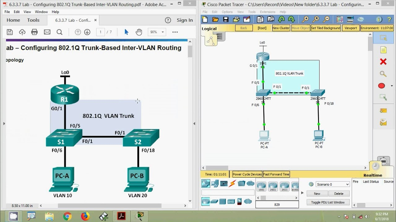 6 3 3 7 Lab - Configuring 802 1Q Trunk-Based Inter-VLAN Routing