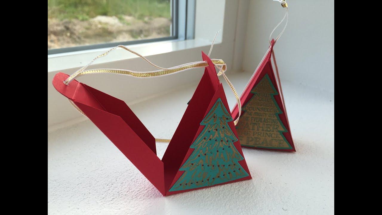 Triangular Christmas Tree Treat Box Handmade Using