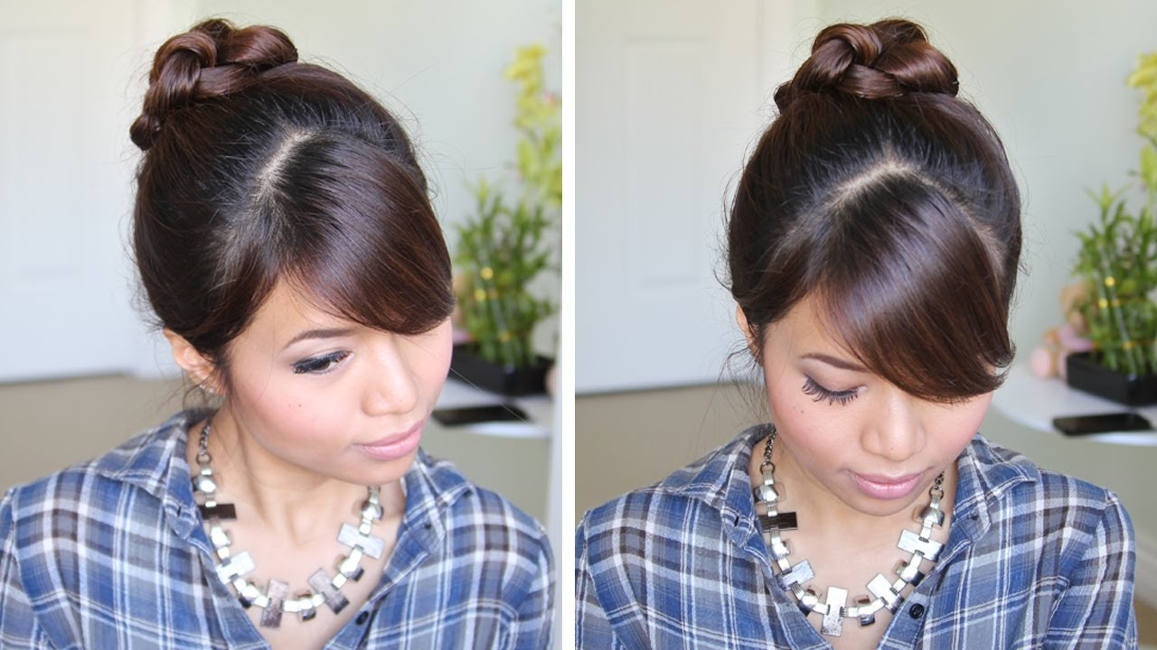 Knotted Hair Bun Updo Hairstyle For Long Hair Tutorial Youtube