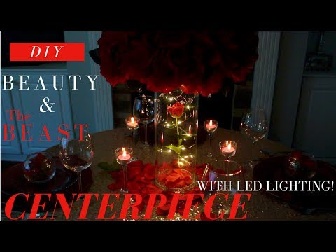 LIGHTED BEAUTY AND THE BEAST CENTERPIECE | DIY WEDDING DECORATIONS