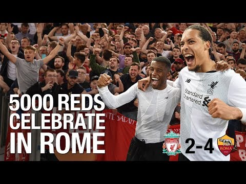 Incredible scenes: 5,000 travelling Reds celebrate in Rome
