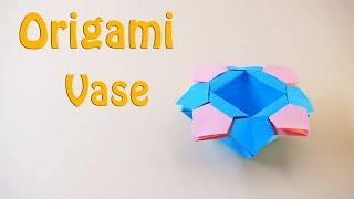🔴Origami vase Ver.2🔴 - How to Make a Paper Vase/basket for Origami Flower Ver.2(11 Minutes)