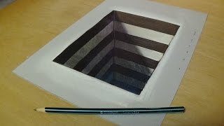 How to Draw 3D Hole for Kids - Easy Anamorphic Illusion - Trick Art on Paper