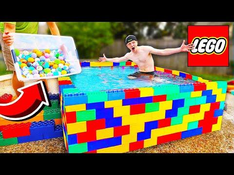 PUTTING 500 BATH BOMBS IN A LEGO POOL!